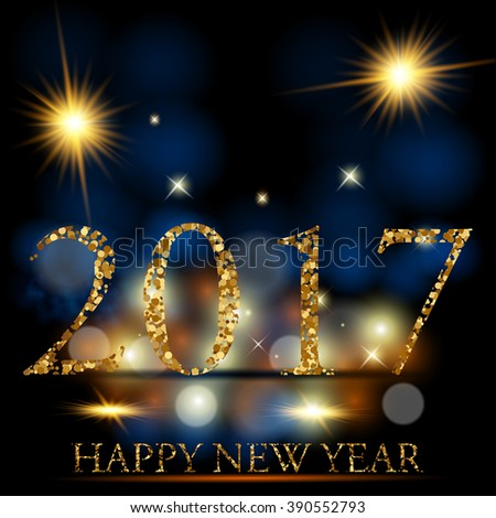 Vector illustration of happy new year 2017 - stock vector