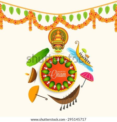 Vector illustration of Happy Onam decoration with rangoli and onam celebration. - stock vector