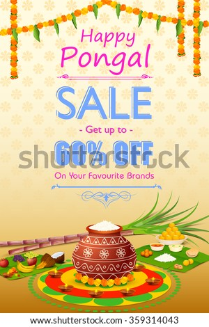 vector illustration of Happy Pongal celebration shopping offer - stock vector