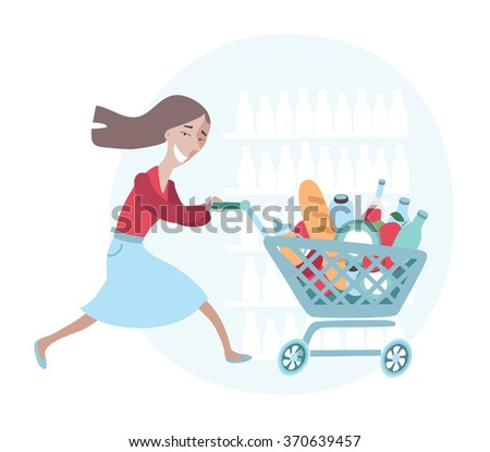 Vector illustration of happy running woman push her cart with different grocery in food store - stock vector