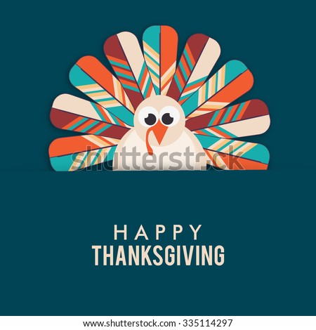 Vector illustration of happy Thanksgiving turkey bird with colourful background. - stock vector