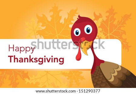 Vector illustration of happy Thanksgiving turkey with custom designed lettering theme - stock vector