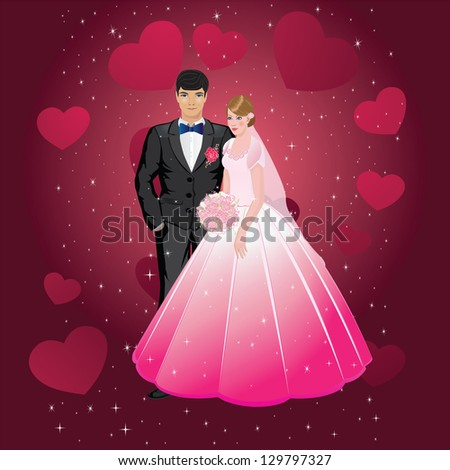 vector illustration of happy the bride and groom on the background of hearts and sparkles - stock vector