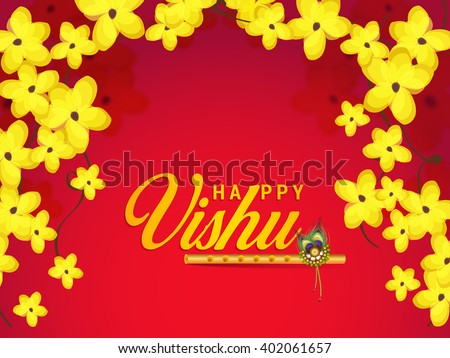 Vector illustration of Happy Vishu typogrphy with flute tradisonal Background - stock vector