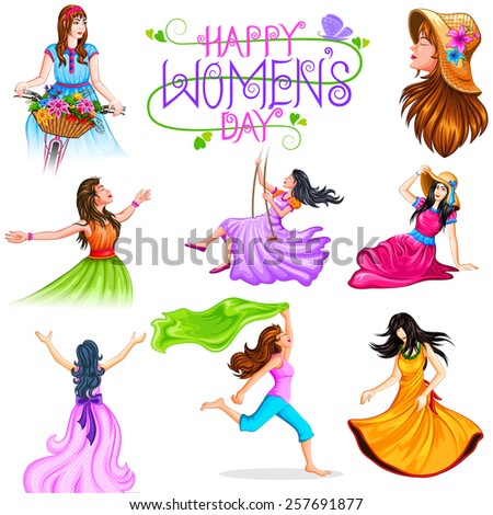 vector illustration of Happy Women's Day background - stock vector