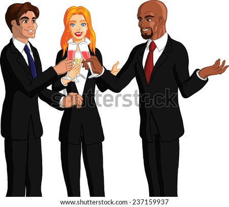 Vector illustration of happy young professionals socializing at a fun party. - stock vector
