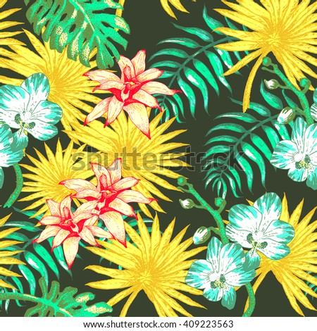 Vector Illustration of  Hawaii Flowers in Sketch Style for Design, Website, Seamless Pattern. Hawaii Doodle Summer Plant Element Template in tropical color.  Hawaii Tropical Flowers Beach Botany - stock vector
