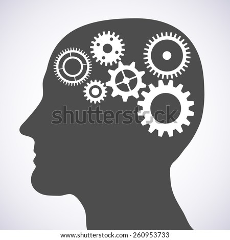 Vector illustration of head silhouette with gears mechanism as brains. - stock vector