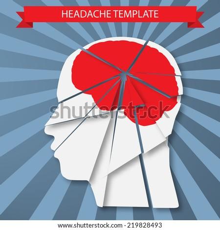 Vector illustration of headache, migraine or psychology concept - stock vector