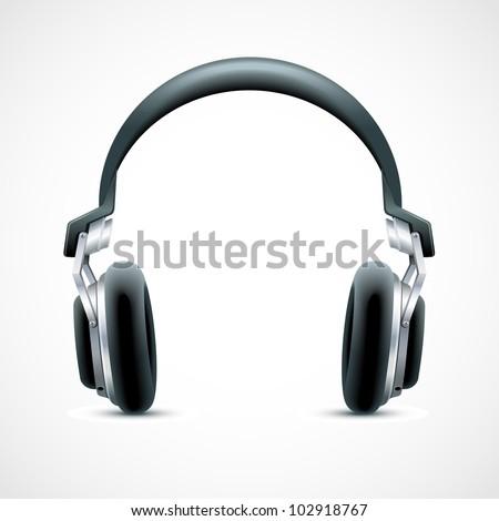 vector illustration of headphone against white background - stock vector