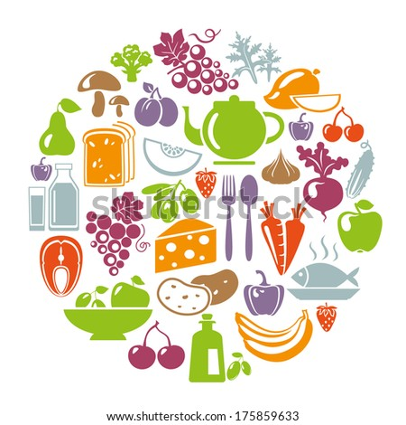 Vector illustration of healthy food concept. Circle shape with organic food icons: vegetables, fruits, fish, tea, coffee, cheese, olive oil, dairy - stock vector