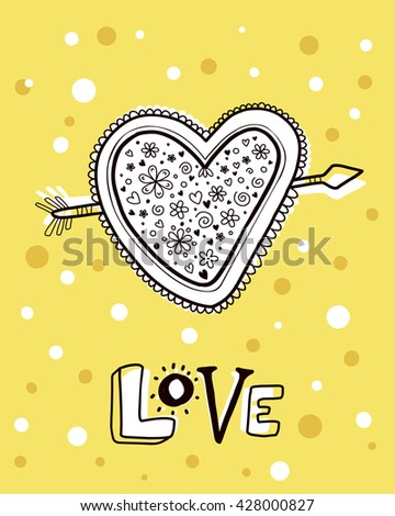 Vector illustration of heart with flowers heart pierced by an arrow and text love on yellow with dots background. Hand draw flat line art design to make a wedding card, poster, postcard, greeting card - stock vector