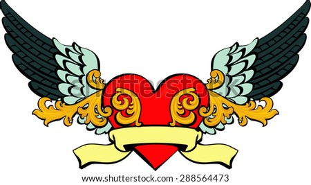 Vector illustration of heart with wings, ribbon and flourish pattern - stock vector