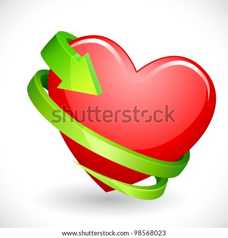 vector illustration of heart wrapped with arrow - stock vector