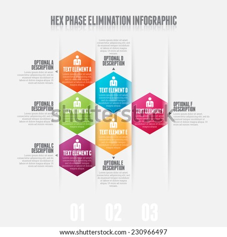 Vector illustration of hex phase elimination infographic design element. - stock vector