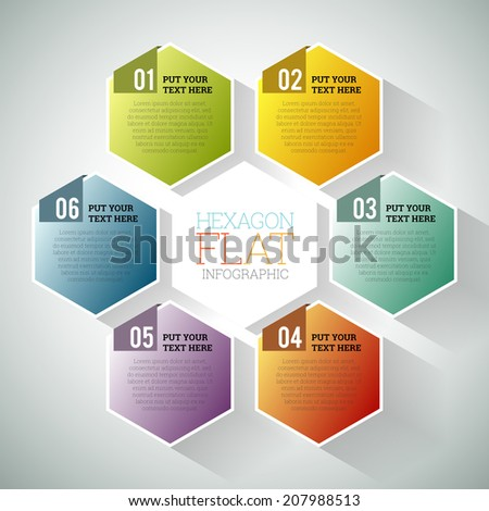 Vector illustration of hexagon hex flat infographic element. - stock vector