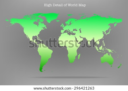 Vector illustration of high detail light green color world map. - stock vector