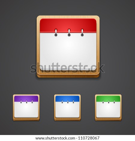 Vector illustration of high-detailed calendar icon in different colors. - stock vector