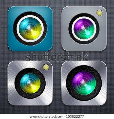 Vector illustration of high-detailed camera apps icon set over linen texture. - stock vector