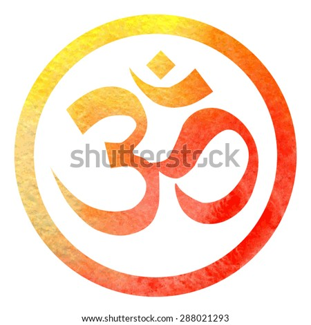Vector illustration of hinduism symbol Om in bright orange watercolor circle frame with white background. - stock vector