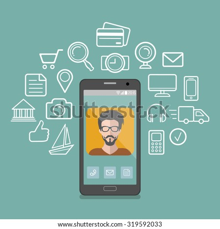 Vector illustration of hipster man app icon on smartphone display in flat style with social media icons around him - stock vector