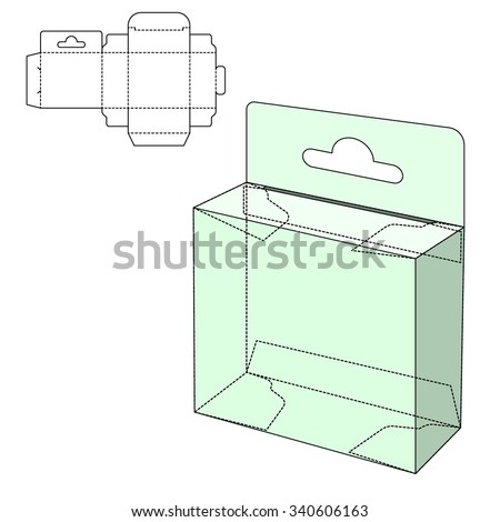 Vector Illustration of Holder craft Box for Design, Website, Background, Banner. Folding package Blank Displays Template. Empty Fold pack with die line for your brand on it - stock vector