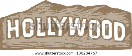 Vector illustration of Hollywood sign - stock vector