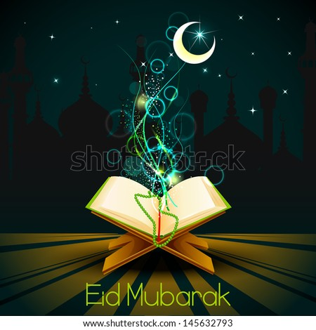 vector illustration of holy book of Quran on Eid Mubarak ( Blessing for Eid) background - stock vector