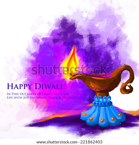 vector illustration of holy diya for Diwali festival - stock vector