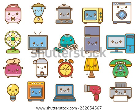 Vector Illustration of Home appliances and electronics - stock vector