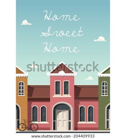 Vector illustration of Home sweet home card - stock vector