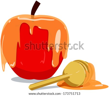 Vector illustration of honey and apple for Rosh Hashanah the Jewish new year.  - stock vector
