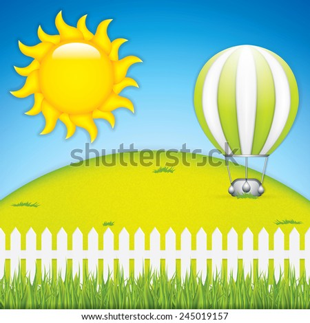 Vector illustration of hot air balloon and green grass meadow - stock vector