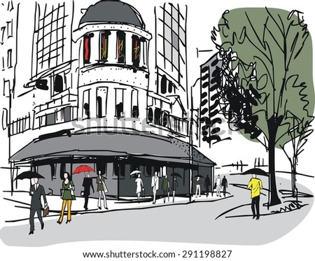 Vector illustration of hotel building and pedestrians. - stock vector