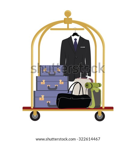 Vector illustration of hotel luggage cart with luggage, briefcase, backpack, bag and man black business suit with tie. Luggage trolley - stock vector