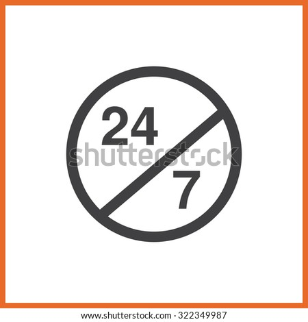vector illustration of 24 hours icon. line flat - stock vector