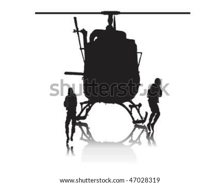 Vector illustration of how soldiers jumping from helicopter. - stock vector