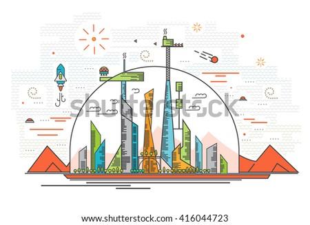 Vector illustration of human base on Mars - stock vector