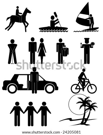 vector illustration of human figures and services symbols - stock vector