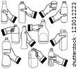 Vector illustration of human hand holding bottle. - stock vector