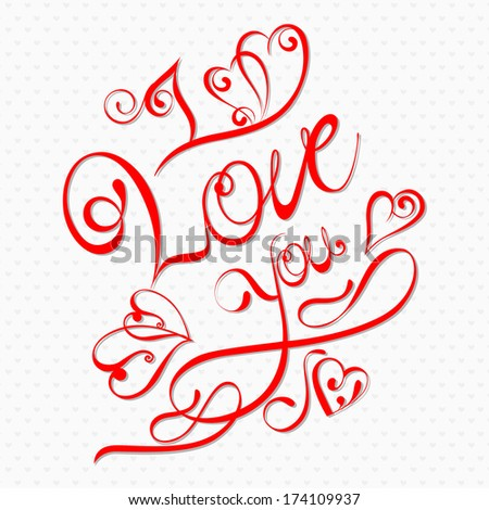 vector illustration of I Love You Valentine background - stock vector