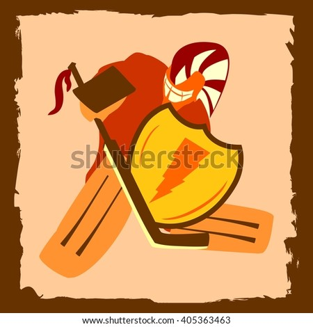 Vector illustration of ice hockey goalie with knight shield. Sport metaphor - stock vector