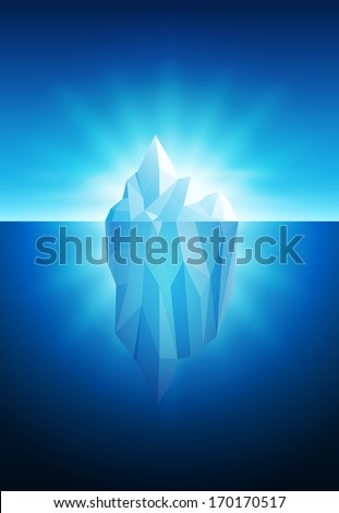 Vector illustration of iceberg. All elements are layered separately in vector file. - stock vector