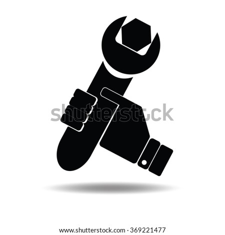 Vector illustration of icon isolated in a modern style, depicting a hand holding a wrench - stock vector