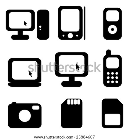 Vector illustration of icon set. - stock vector