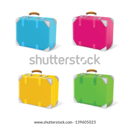 Vector illustration of icon set travel suitcase - stock vector