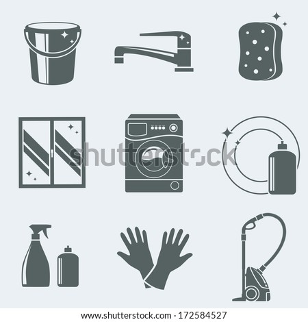 Vector illustration of icons on a theme of cleaning - stock vector