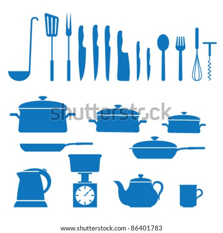 Vector illustration of icons on kitchen appliances - stock vector