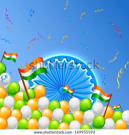 vector illustration of in Indian Tricolor balloon with flag - stock vector