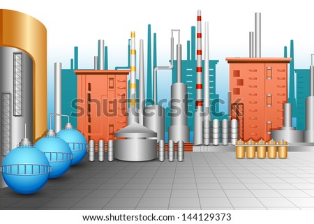 vector illustration of industrial plant with oil tanker - stock vector